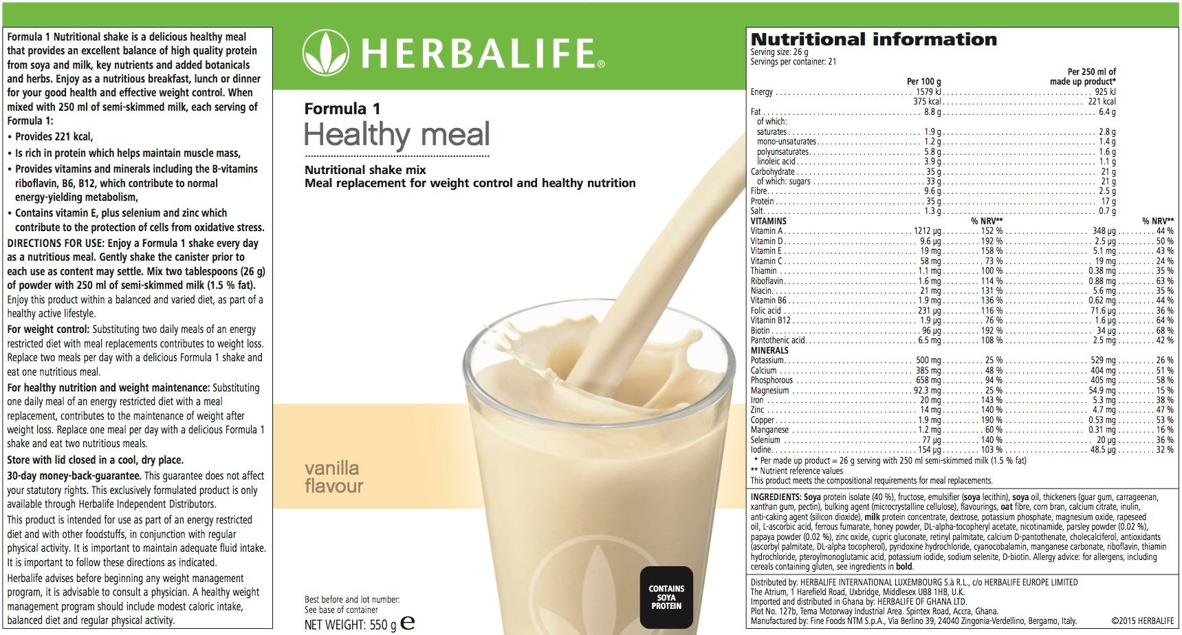 It's just a picture of Priceless Herbalife Product Nutrition Labels